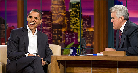 Obama and Jay Leno in 2007